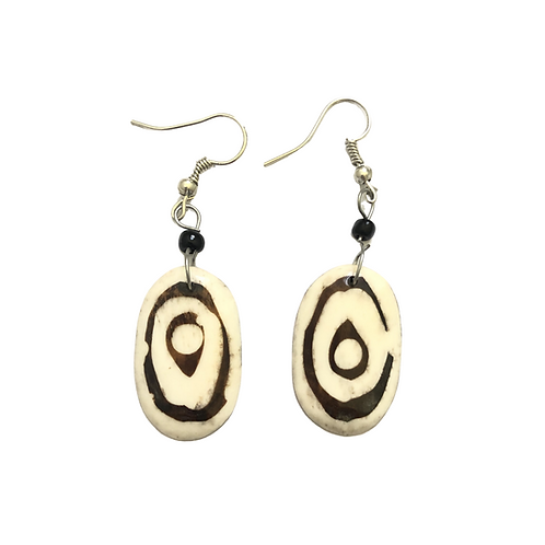 White and Brown Cow Horn Earrings