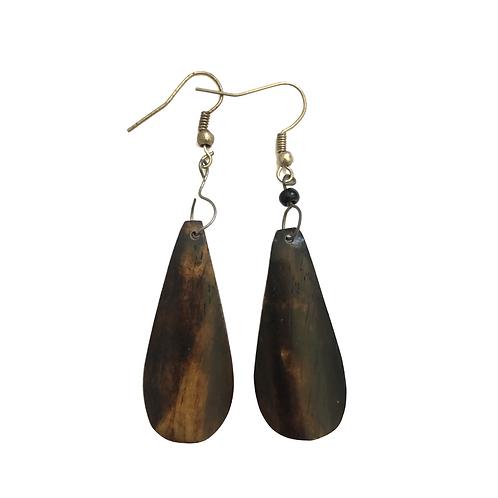 Simple Brown Cow Horn Earrings