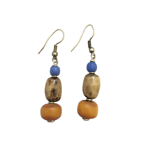Multicolored Stone and Beaded Earrings