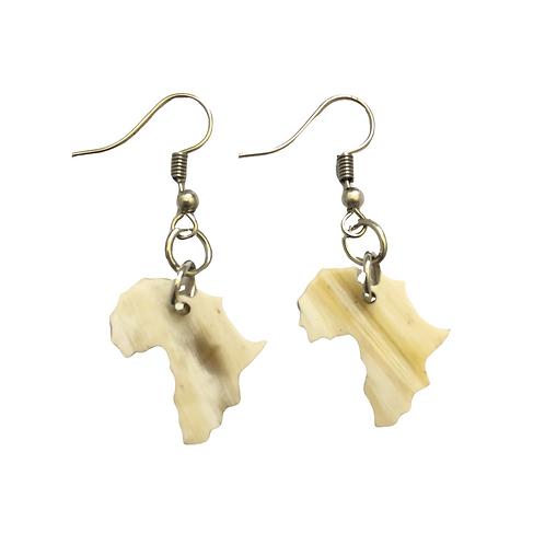 White Africa Shaped Earrings
