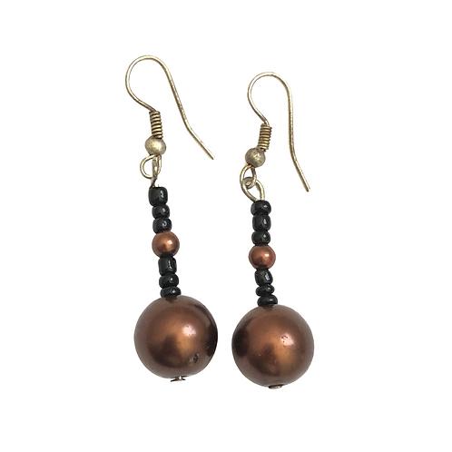 Brown Drop Beaded Earrings