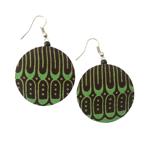 Green and Brown African Fabric Earrings