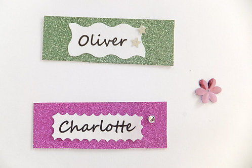 Stick on words for personalising cards, gifts, scrapbooking