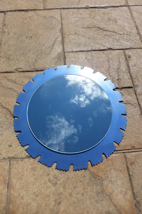 Upcycled sawblade mirror