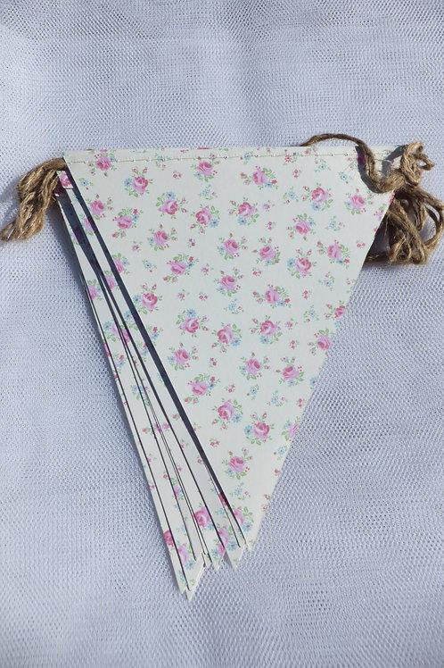 Pretty card bunting petite roses design 5m