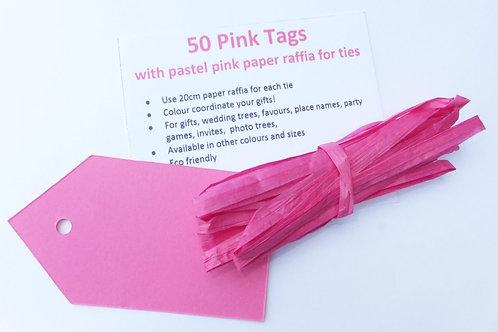 50 gift tag luggage label wedding favour card + 10m paper raffia string
