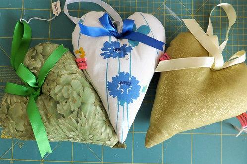 Fabric stuffed hanging heart decoration