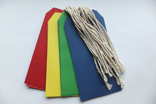 Multicoloured tie on card labels
