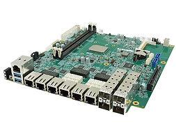 iBASE MBN802 ● Intel® AtomTM Processor C3758 ● 2x DDR4 DIMMs; Max. 64 GB (ECC / non-ECC & RDIMM) ● 6x PCI-E GbE RJ45 ports; 2x Advanced LAN Bypass pairs ● 4x 10GbE SFP+ ports ● 1x CF slot