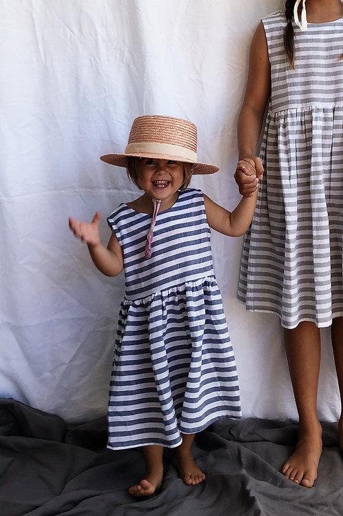 Everyday Dress, Linen Stripe, Indigo Blue