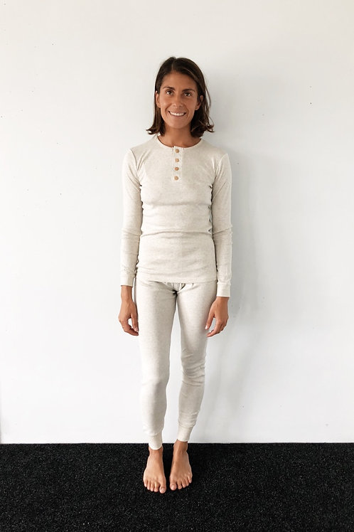 Womens Long Johns Set, Organic Grey Marle