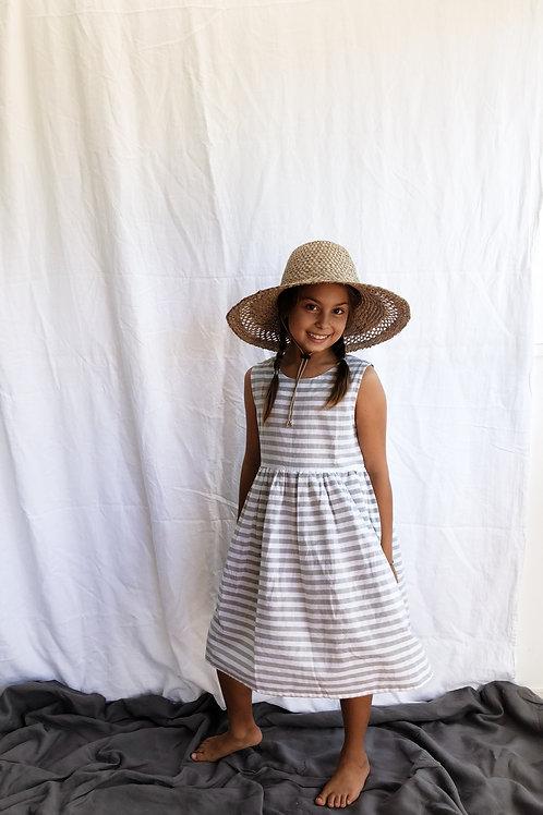 Everyday Dress, Linen Stripe, Sage