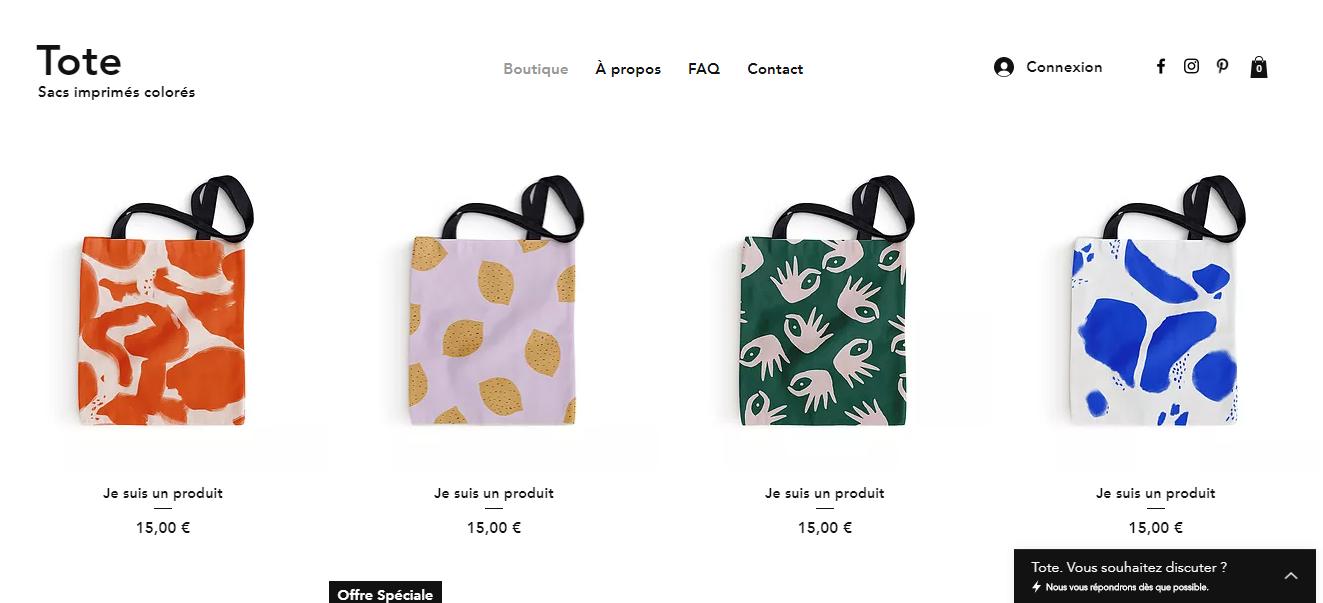 E-commerce sacs artisanaux