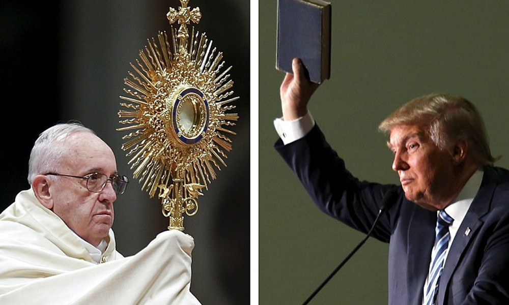 """Pope Francis leads the First Vespers and Te Deum prayers in Saint Peter's Basilica at the Vatican December 31, 2015 and U.S. Republican presidential candidate Donald Trump (R) holds up a copy of the Bible he said his mother gave him as a youth during a campaign rally in Council Bluffs, Iowa, December 29, 2015 in a combination of file photos. Pope Francis assailed Republican presidential candidate Donald Trump's views on U.S. immigration as """"not Christian"""" on Thursday, prompting the billionaire businessman to assail the religious leader as """"disgraceful"""" for questioning his faith. REUTERS/Max Rossi/Lane Hickenbottom/Files TPX IMAGES OF THE DAY"""