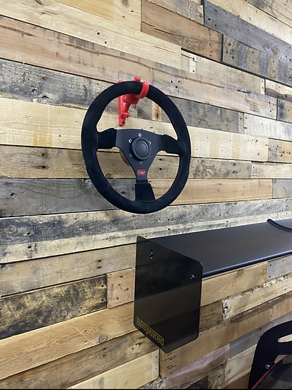 Piston steering wheel wall hooks