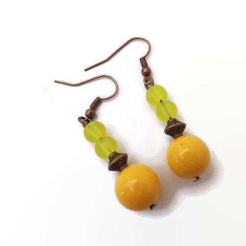 Yellow and Bronze Beaded Boho Earrings