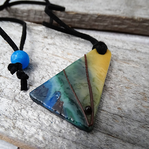 Blue Green Yellow  Glass Necklace