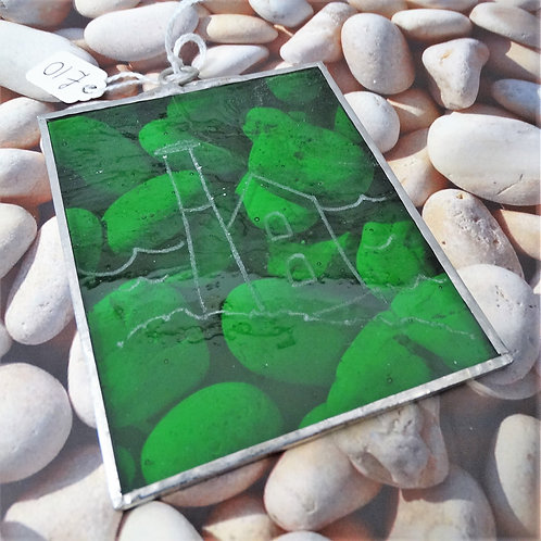 Tin Mine Etched Green Hanging Tile