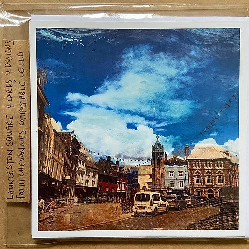 Set of 4  Launceston Square Printed Greeting Cards