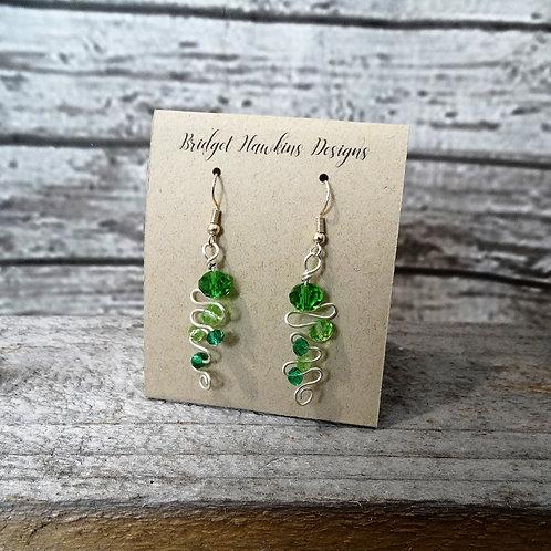 Green Beaded Wire  Earrings