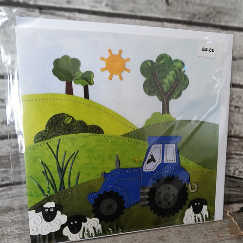 Greeting Cards- Blue Tractor Sheep Farmer