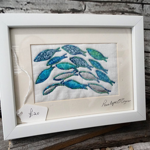 Framed Original Textile Art Silver Darlings