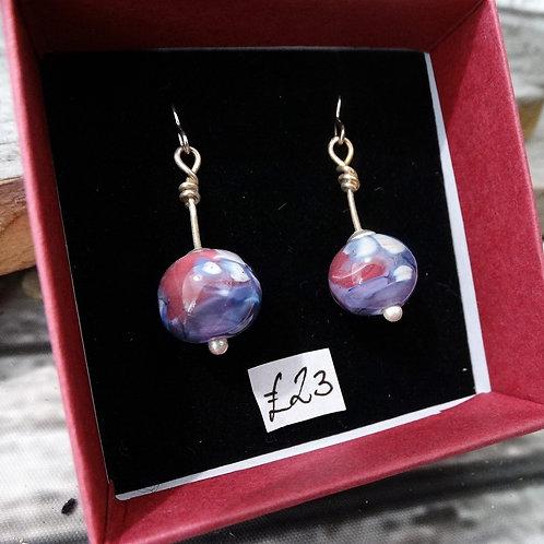 Purple Pink Glass   Dangle Earrings