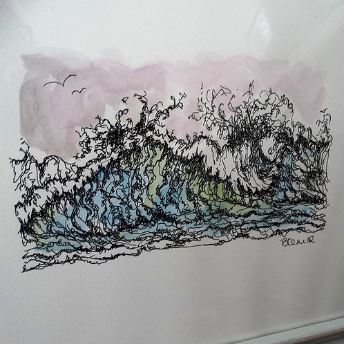 Watercolour, Pen and Ink Painting - Waves II