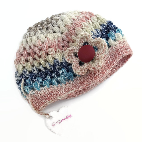 6 to 12 month Glitter Chloe Hat Pink Blue