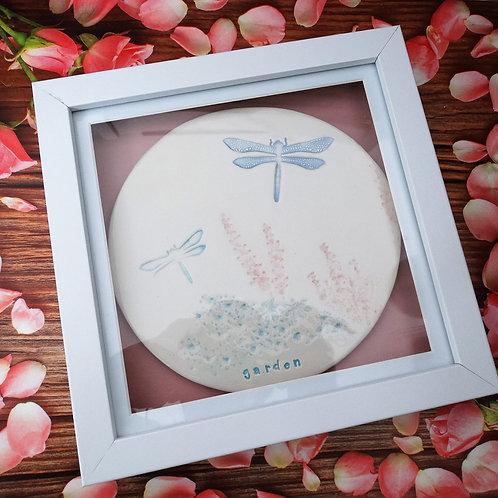Dragonfly in the Garden Ceramic Disk Frame