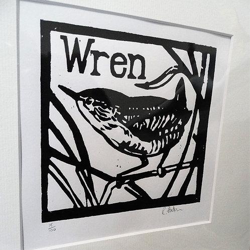 Richard Hudson - Original Unframed Woodcut Print Wren