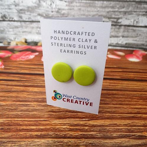 Wasabi Green Polymer Clay Stud Earrings Studs