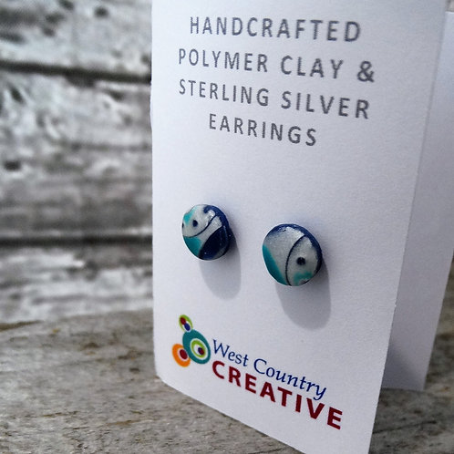 Turquoise Silver  Polymer Clay Stud Earrings