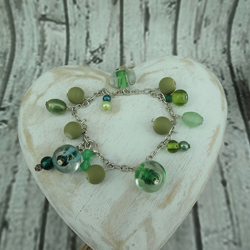 Green Silver Plated Chain Bracelet