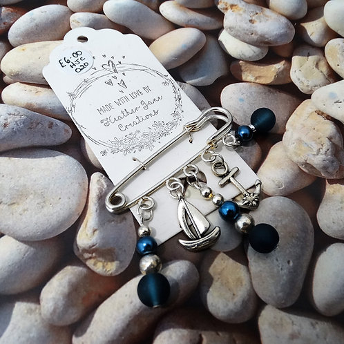 Silver Plated Brooch with Blue Beads and Charms