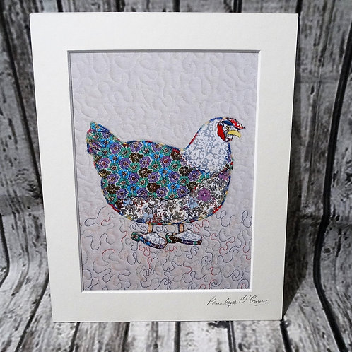 Print from Original Textile Art Chicken with Clogs
