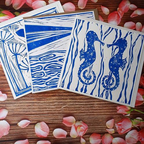 Set of 3 Lino Print Greeting Cards