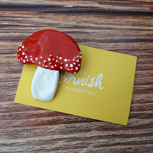 Polymer Clay Toadstool with Silver Plated Brooch