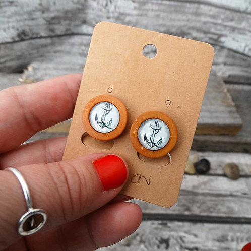 Anchor Resin and Wood Clip On  Earrings