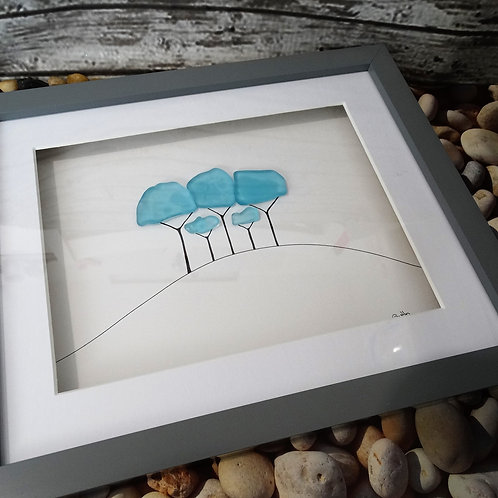 Coming Home Trees Sea Glass Picture - Turquoise