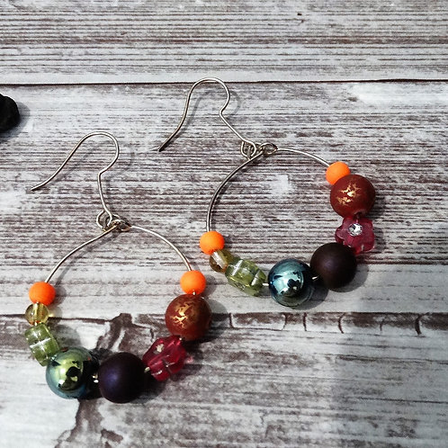 Silver Plated Earrings Hoops and Dark Rainbow Beads
