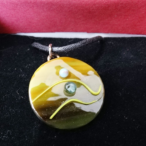 Wave Pendant on a cord necklace