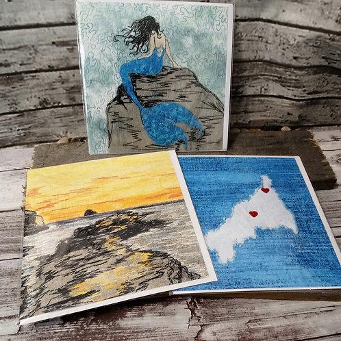 Cornish Treasures - Set of 3 Printed Greeting Cards