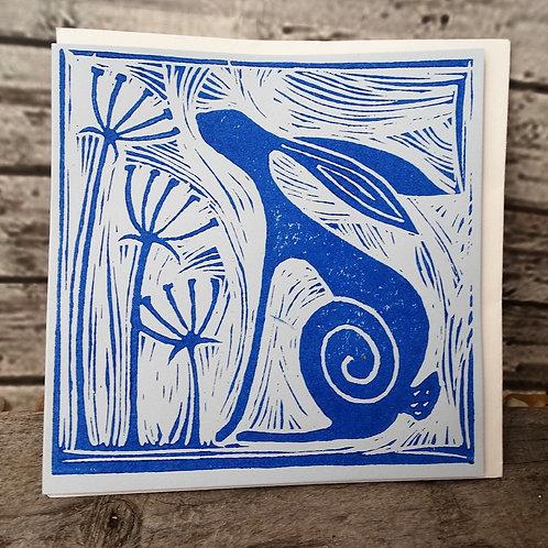Lino Print Greeting Card - Hare