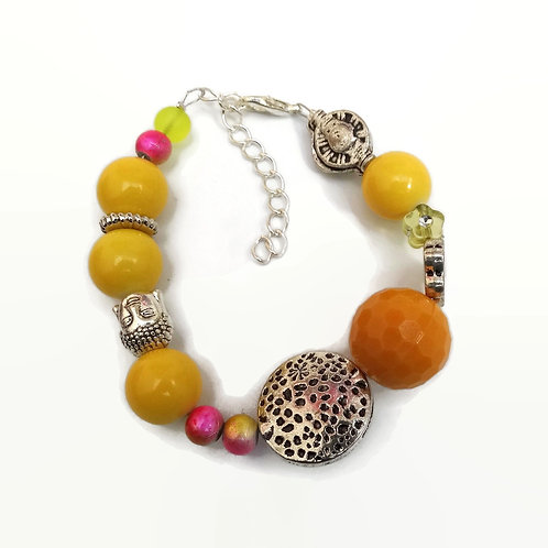 Yellow Silver Plated Bead Bracelet