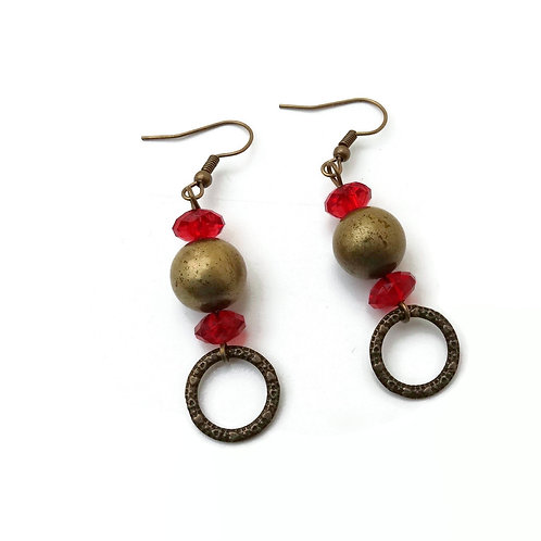 Bronze Earrings with Red Beads