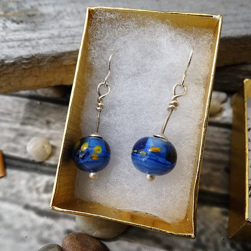 Blue Glass    Dangle Earrings