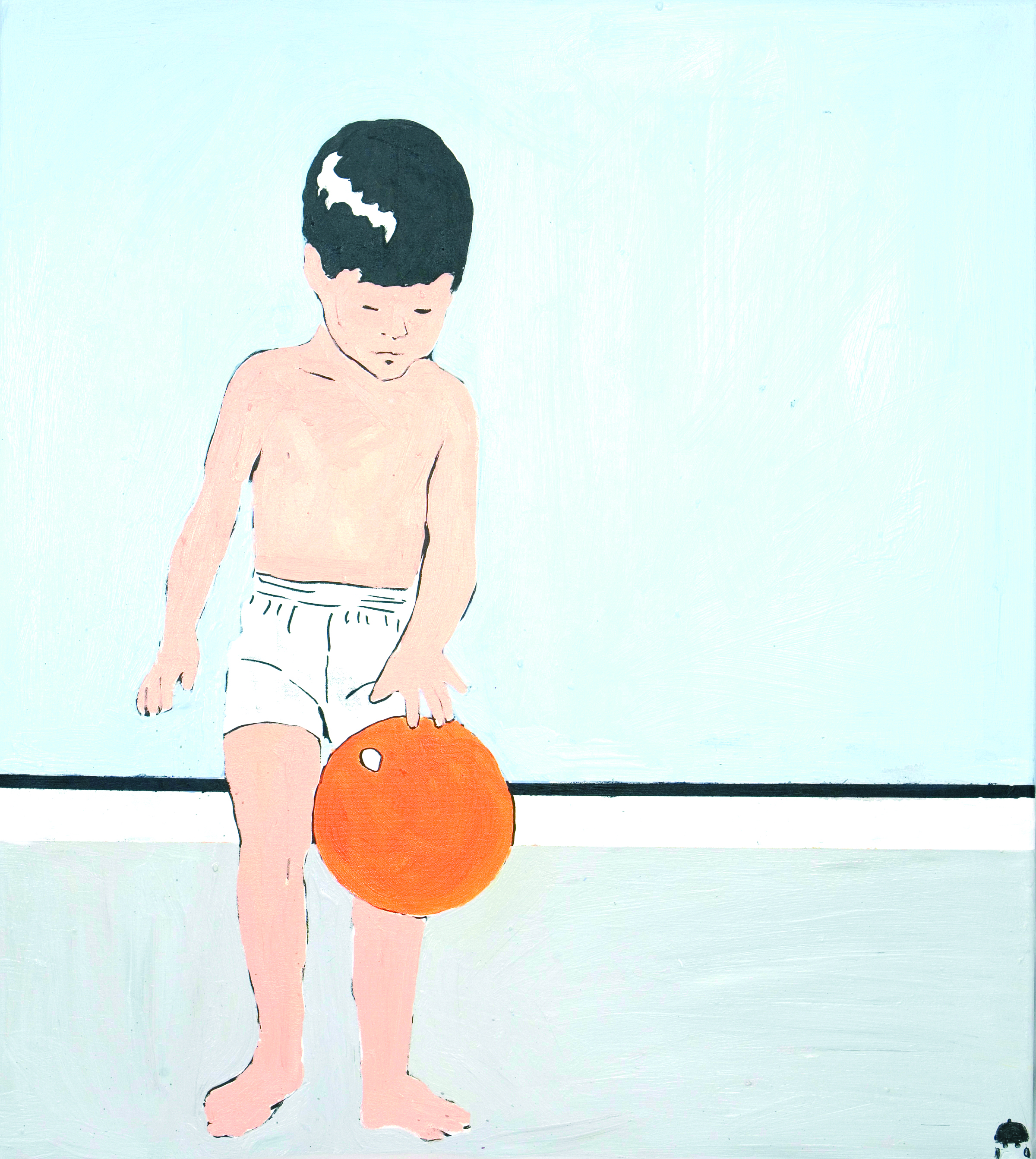 junge mit orangenem ball