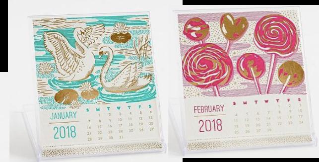 Letterpress Foil 2018 Calendar
