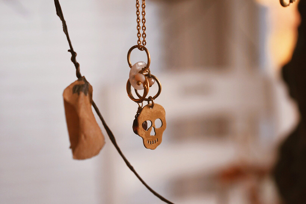 Skull Gold Charm Necklace - Found a Bea's Designs